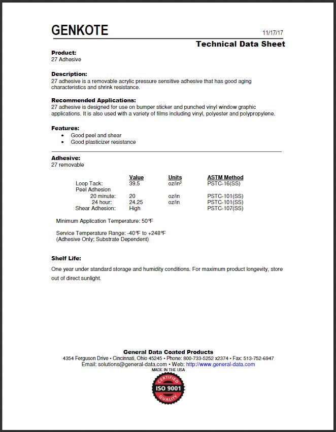 27 Adhesive Technical Data Sheet