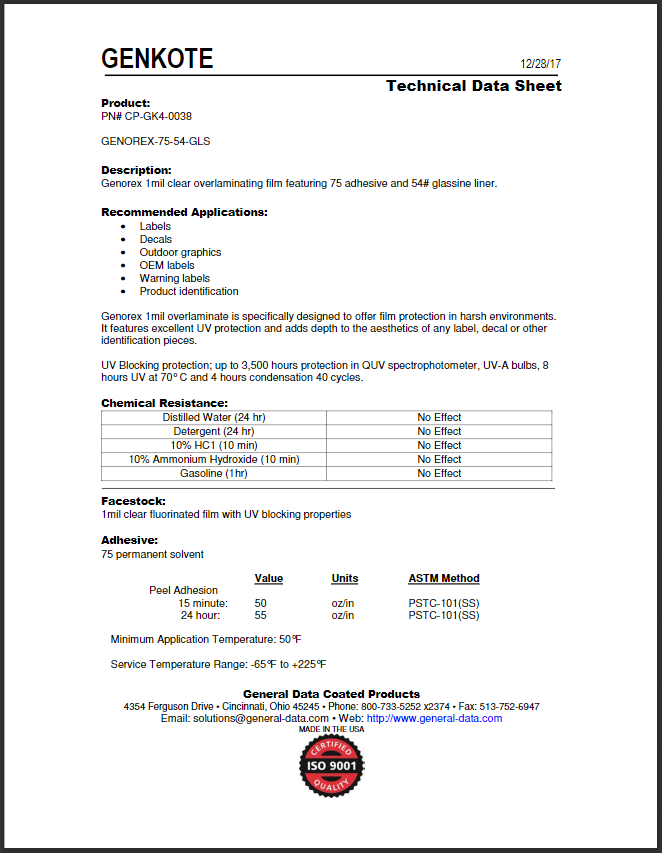 CP-GK4-0038 Technical Data Sheet