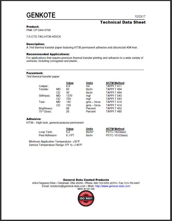 CP-GK4-0700 Technical Data Sheet