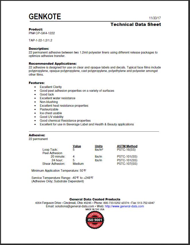 CP-GK4-1222 Technical Data Sheet
