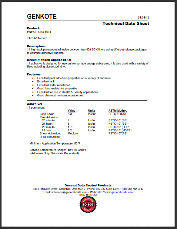 CP-GK4-4014 Technical Data Sheet