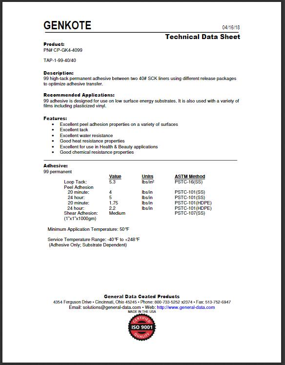 CP-GK4-4099 Technical Data Sheet