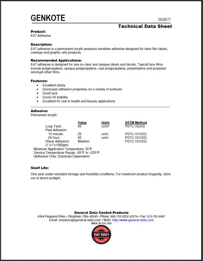E47 Adhesive Technical Data Sheet