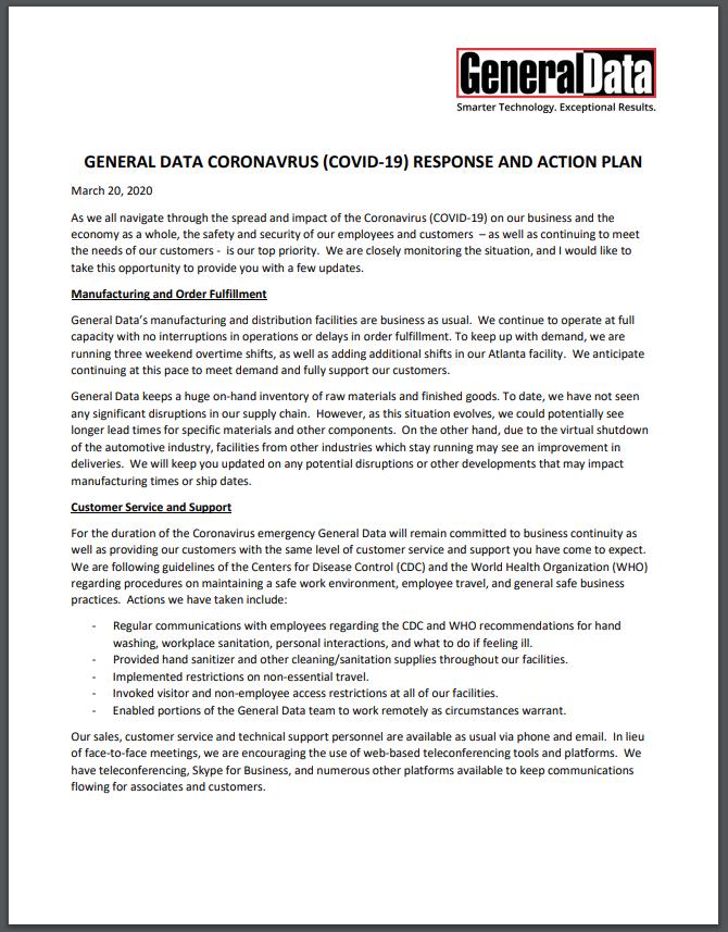 GDC Coronavirus (COVID-19) Response and Action Plan