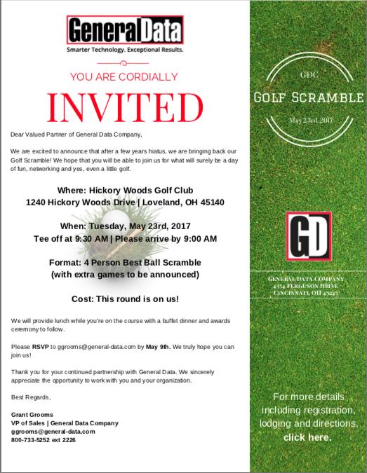 GDC Golf Scramble 2017 Invitation