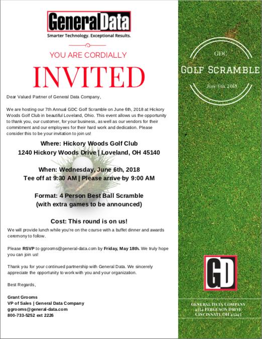 GDC Golf Scramble 2018 Invitation