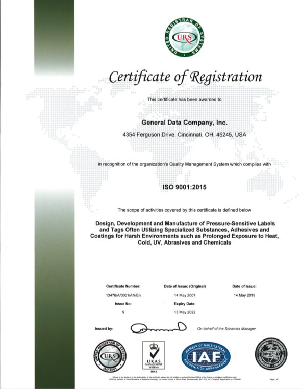 General Data ISO 9001:2015 Certificates of Registration