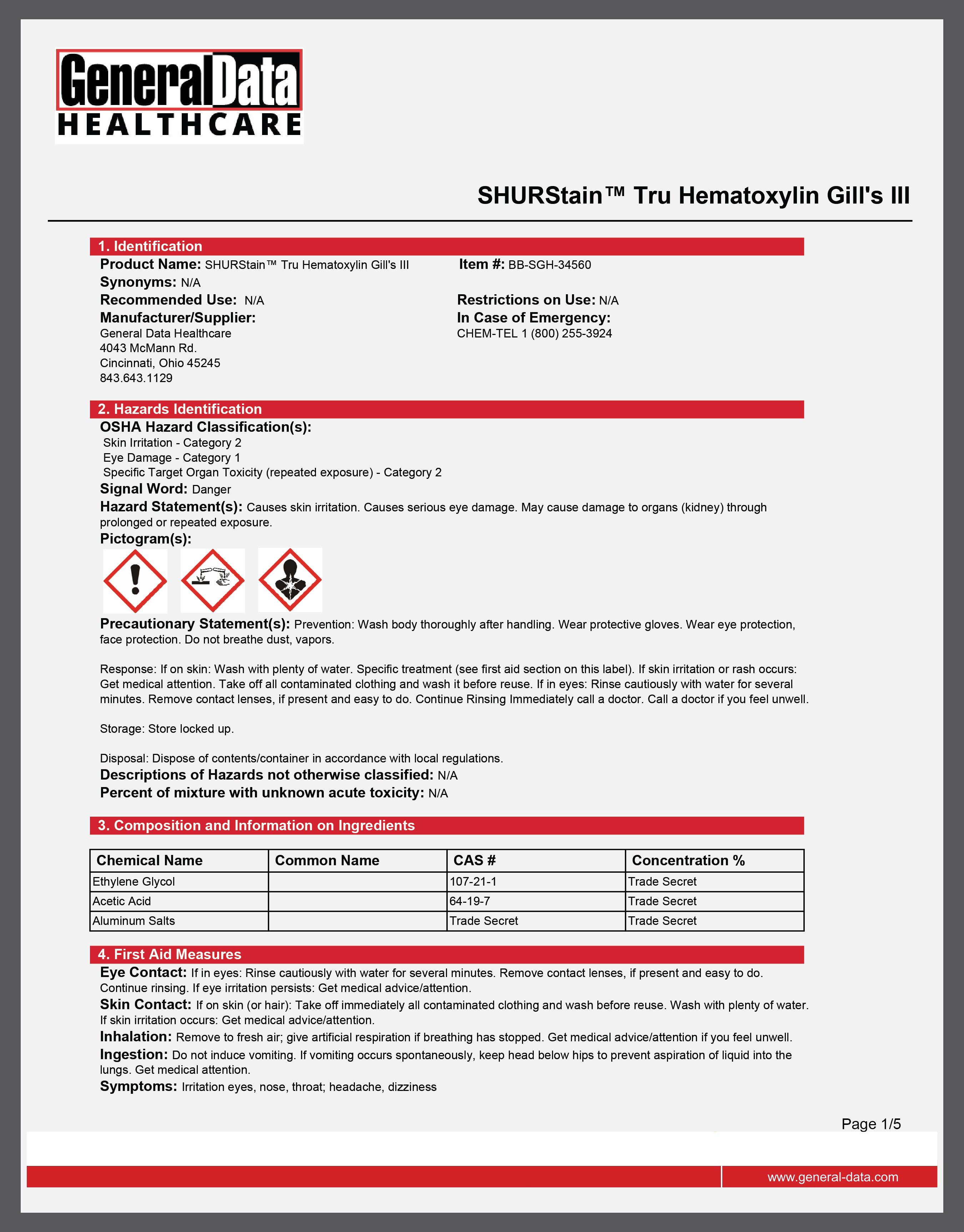 SHURStain Tru Hematoxylin Gill's III Safety Data Sheet