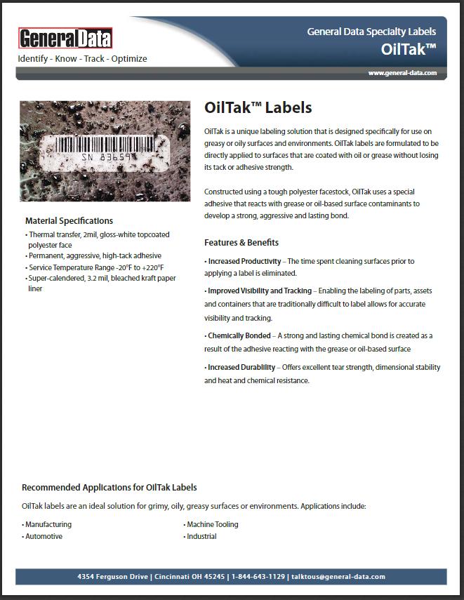 OilTak Labels Product Brochure