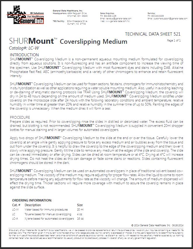 SHURMount Liquid Cover Glass Water Base (LC-W) Technical Data Sheet 521