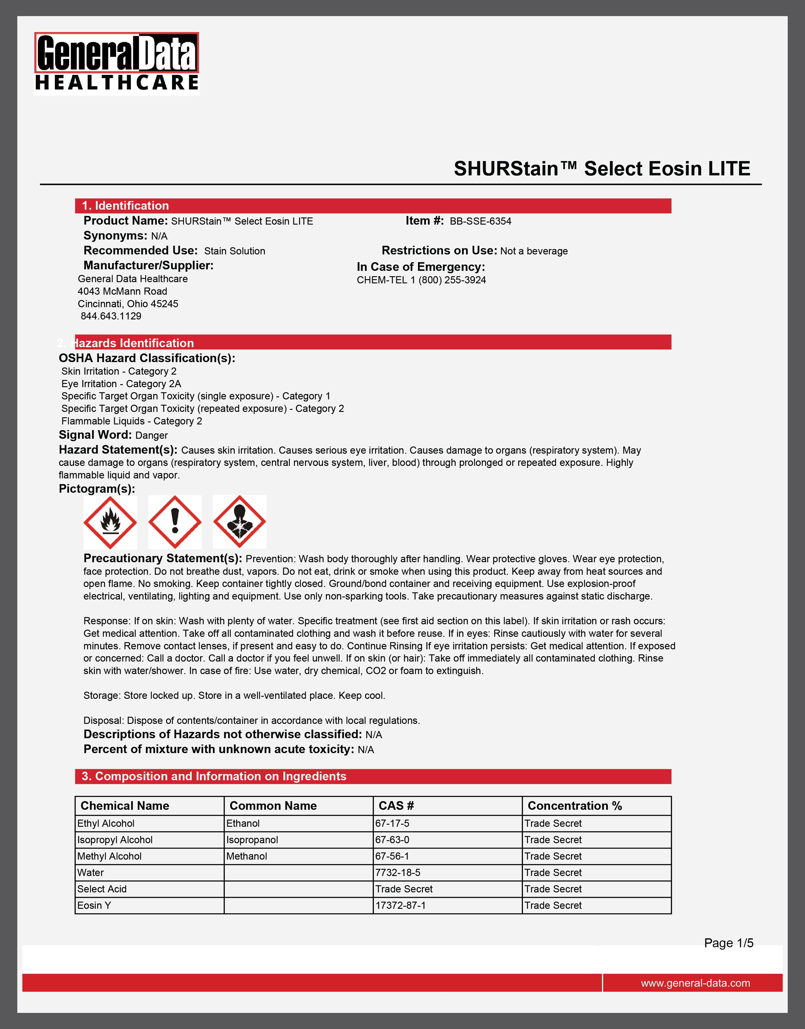 SHURStain Select Eosin LITE Safety Data Sheet
