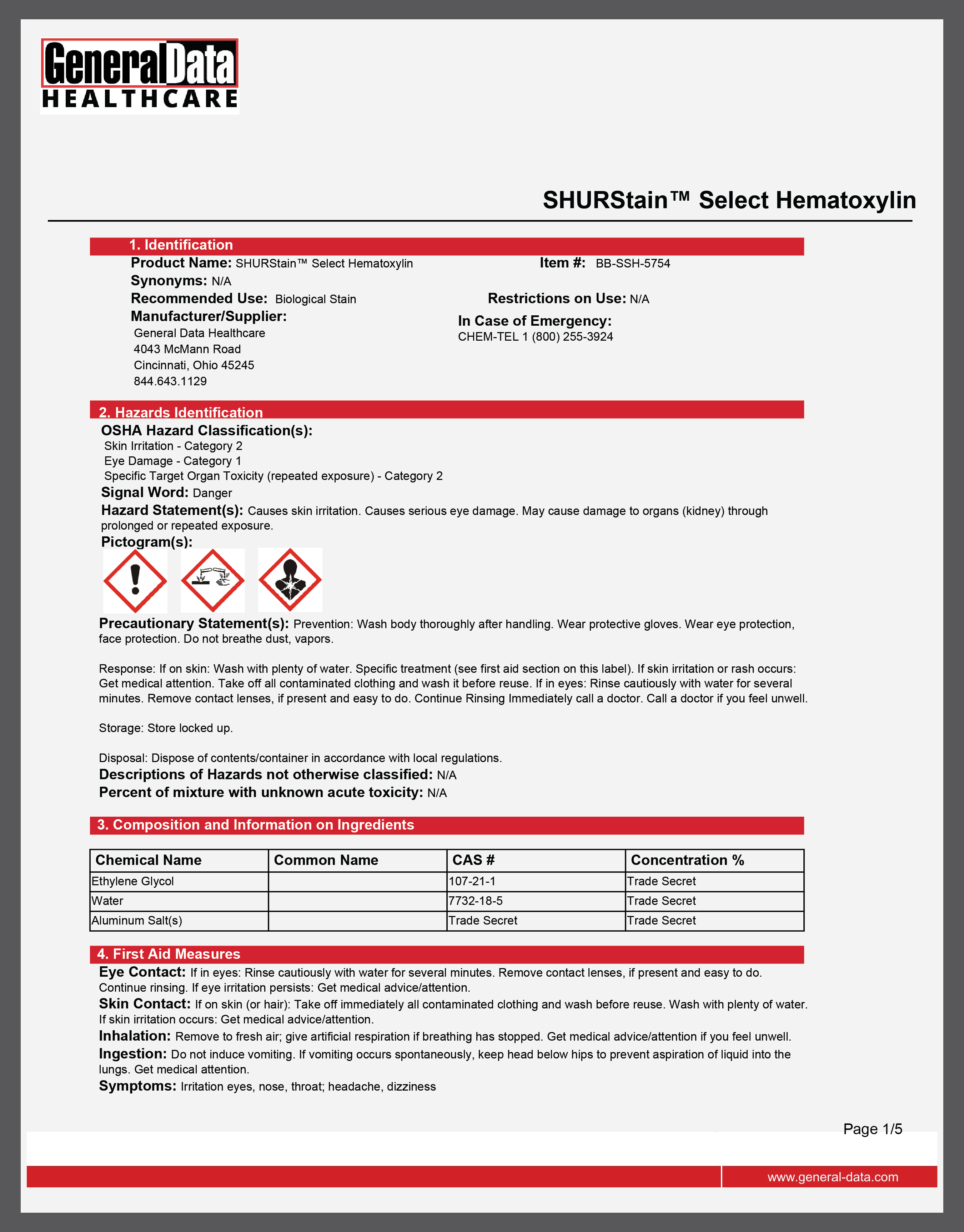 SHURStain Select Hematoxylin Safety Data Sheet