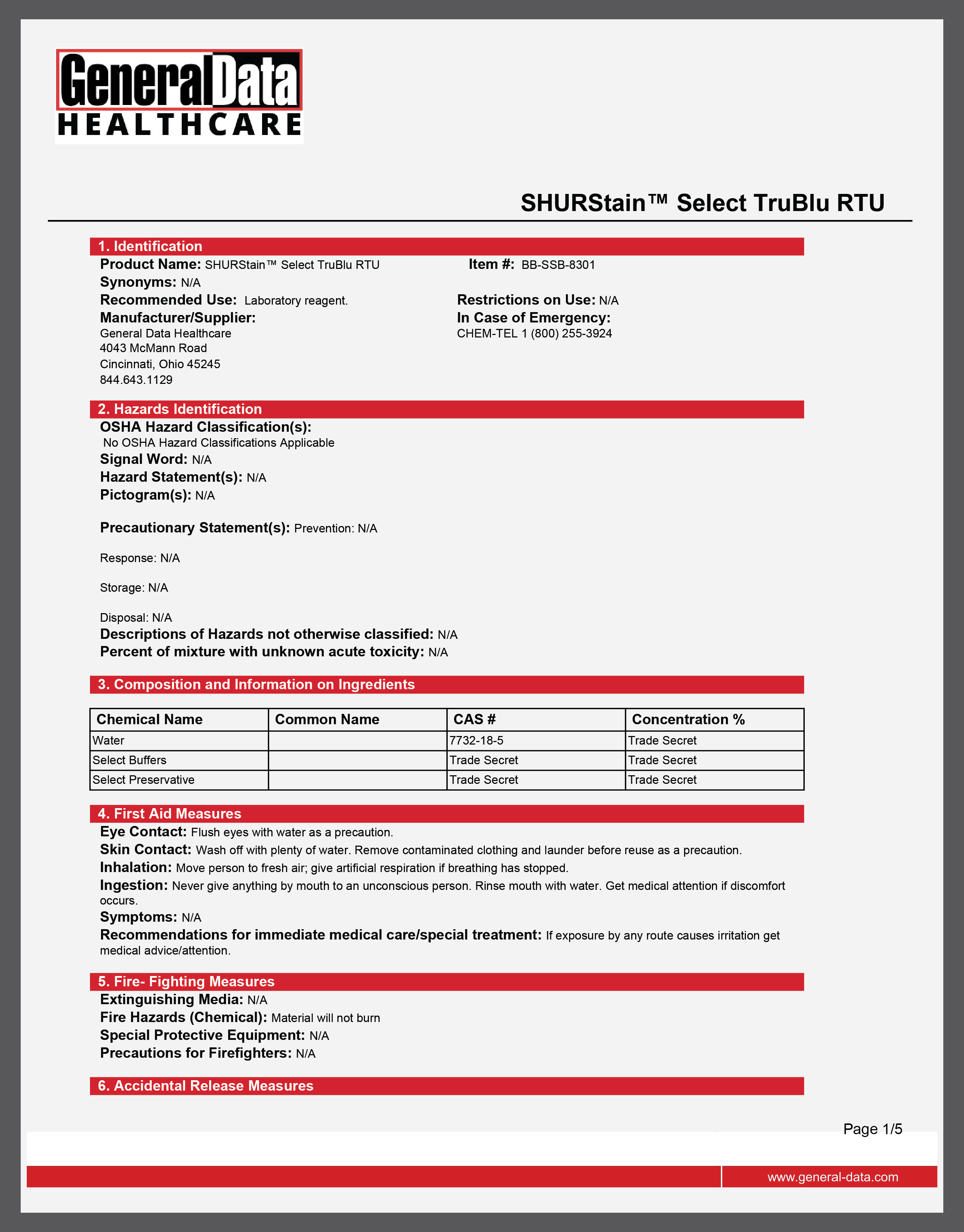SHURStain Select TruBlu RTU Safety Data Sheet