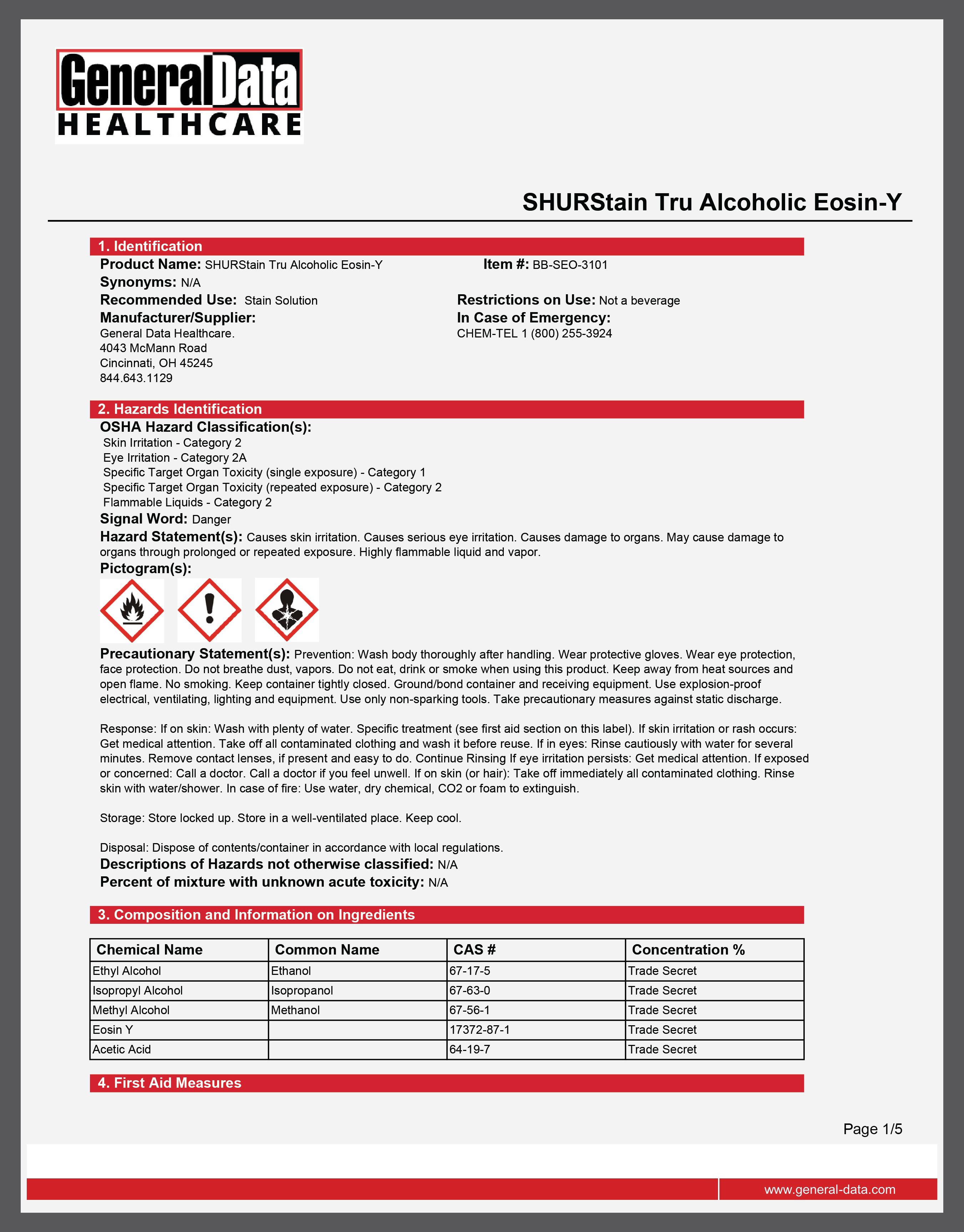 SHURStain Tru Alcoholic Eosin-Y Safety Data Sheet