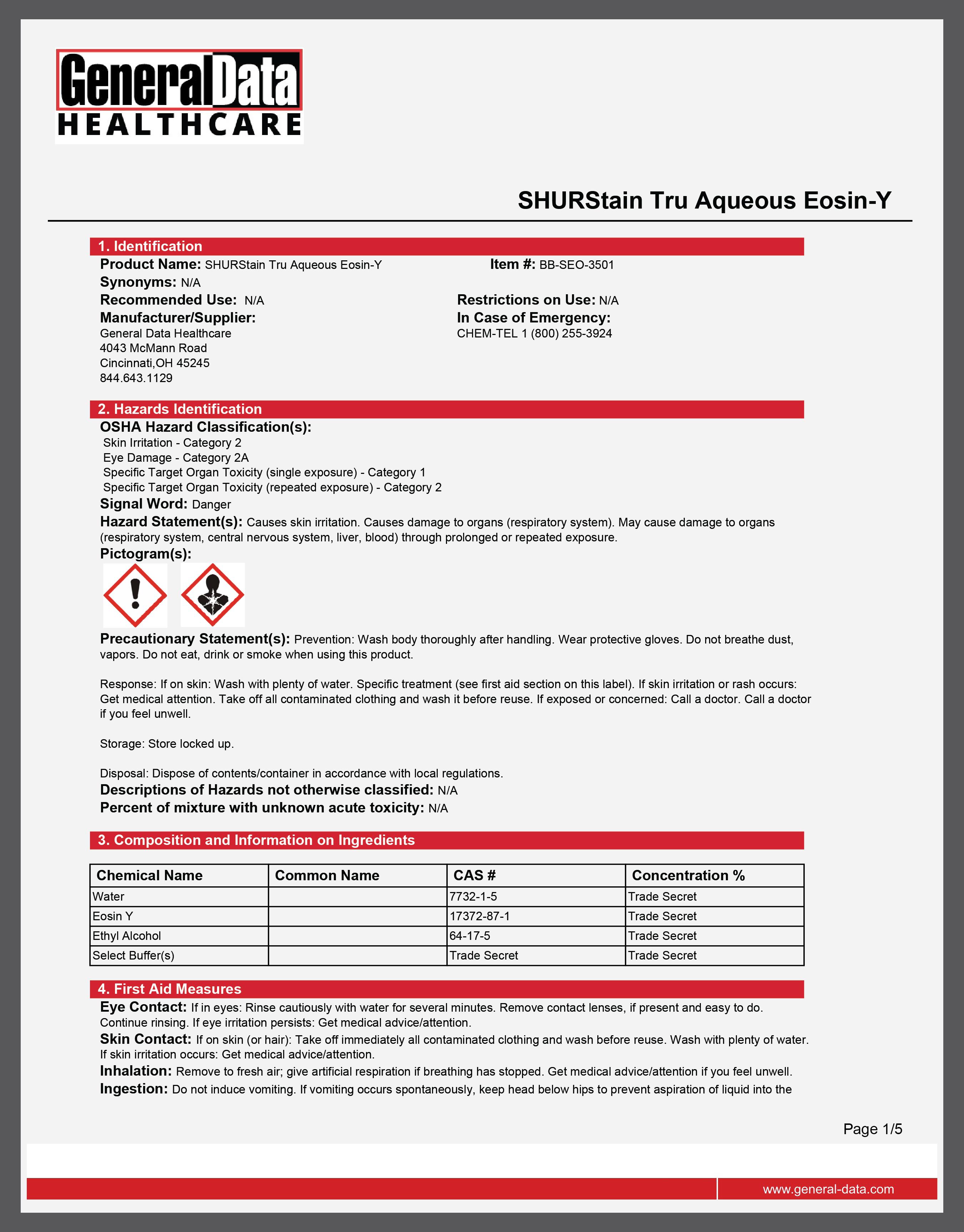 SHURStain Tru Aqueous Eosin-Y Safety Data Sheet