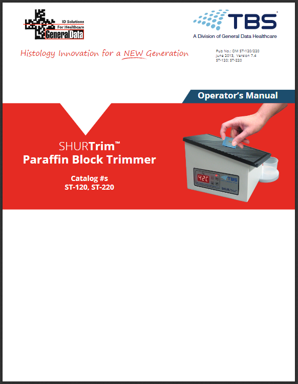 SHURTrim Paraffin Block Dewaxer Operator Manual
