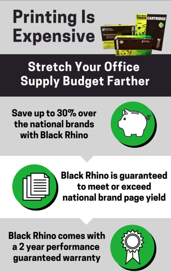 Stretch Your Office Supply Budget Farther With Black Rhino Printer Supplies Infographic
