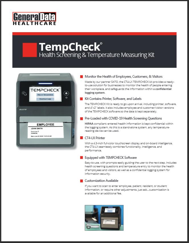 TEMPCHECK Health Screening & Temperature Measuring Kit Product Brochure