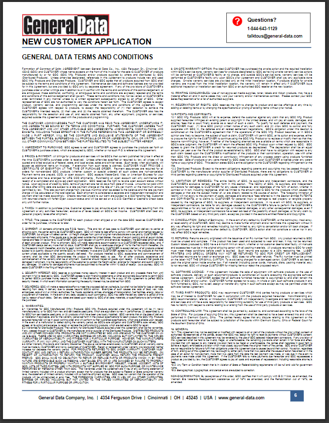 General Data Terms & Conditions