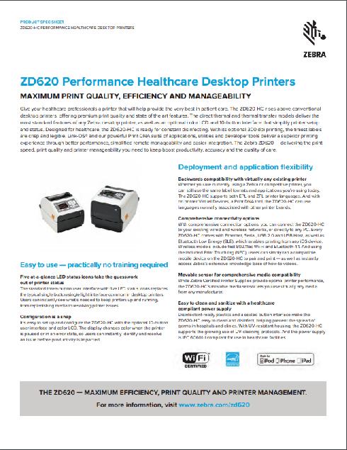 Zebra ZD620-HC Thermal Transfer Printer Product Brochure
