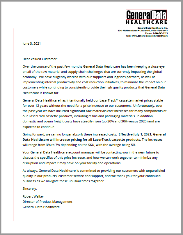 Download LaserTrack Cassettes Price Increase Notification Letter
