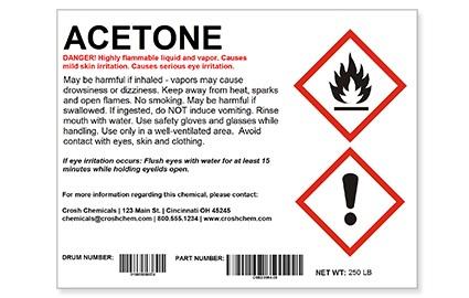 GHS chemical drum label