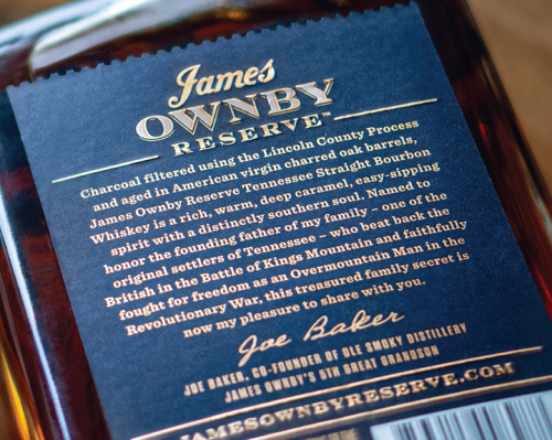 James Ownby Reserve Tennessee Straight Bourbon Whiskey - Back Label Detail
